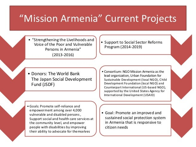 """""""Mission Armenia"""" Current Projects • """"Strengthening the Livelihoods and Voice of the Poor and Vulnerable Persons in Armeni..."""
