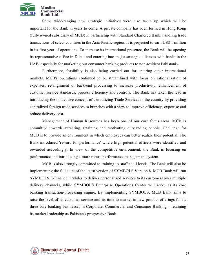 ali internship reports on mcb bank Internship reports on mcb bank ltdali nawaz khan (9830) submitted in partial fulfillment of the requirements for the degree of master in.