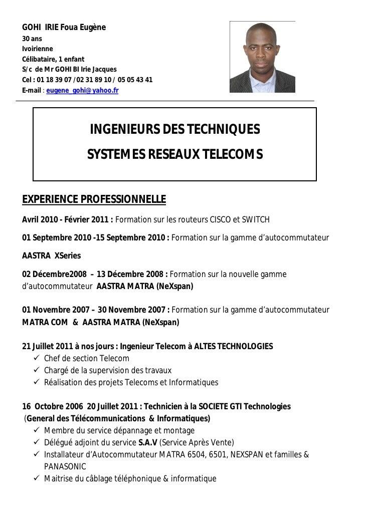 exemple de cv ingenieur telecoms et reseaux