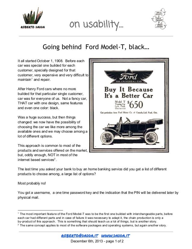 on usability… Going behind Ford Model-T, black… ItallstartedOctober1,1908.Beforeeach carwasspecialonebuildedf...