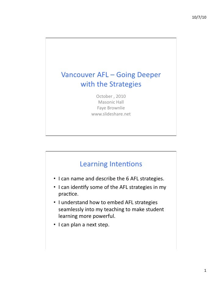 Going deeper with AFL - Vancouver, Oct.2010
