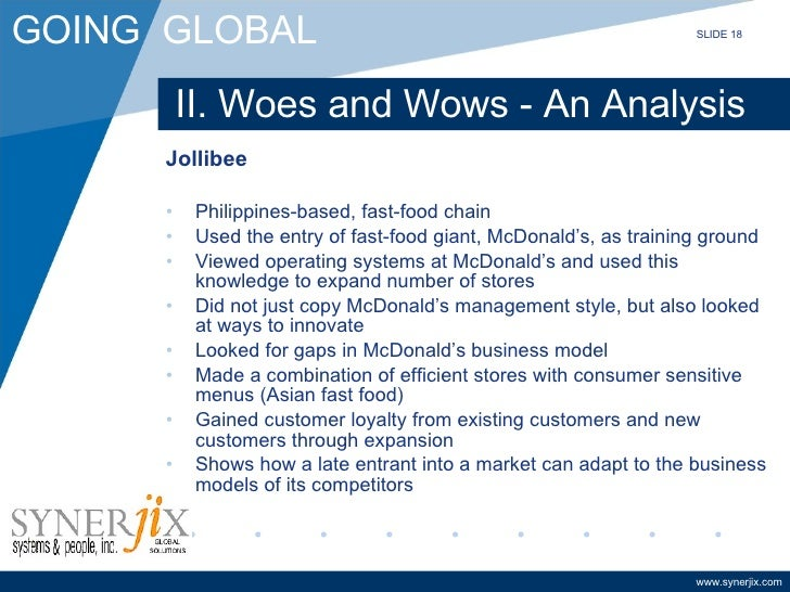 strategies implemented by jollibee Lumba developed a long-term marketing strategy, listing up a number of  consumer  i believe that jollibee had the same idea when they introduced a  host of.
