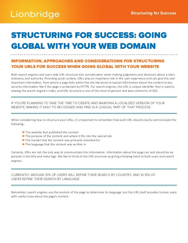 Structuring for SuccessSTRUCTURING FOR SUCCESS: GOINGGLOBAL WITH YOUR WEB DOMAININFORMATION, APPROACHES AND CONSIDERATIONS...