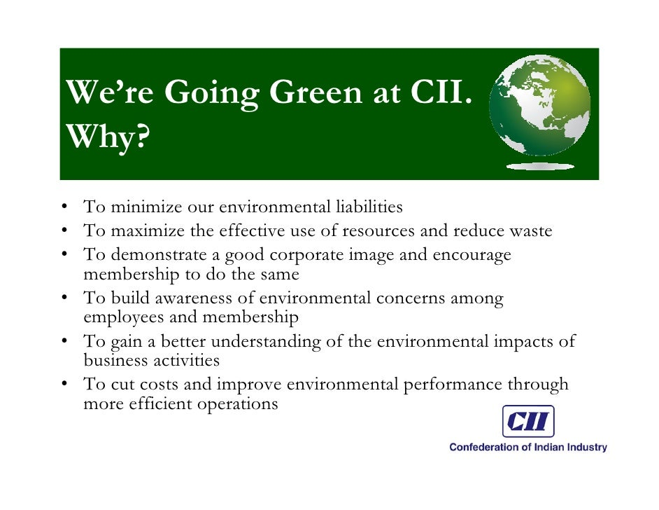 Going Green at CII  15 Steps Slide 2