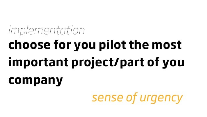 implementation choose for you pilot the most important project/part of you company                sense of urgency