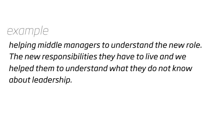 example helping middle managers to understand the new role. The new responsibilities they have to live and we helped them ...