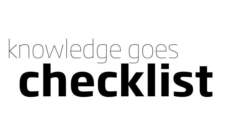 knowledge goes checklist
