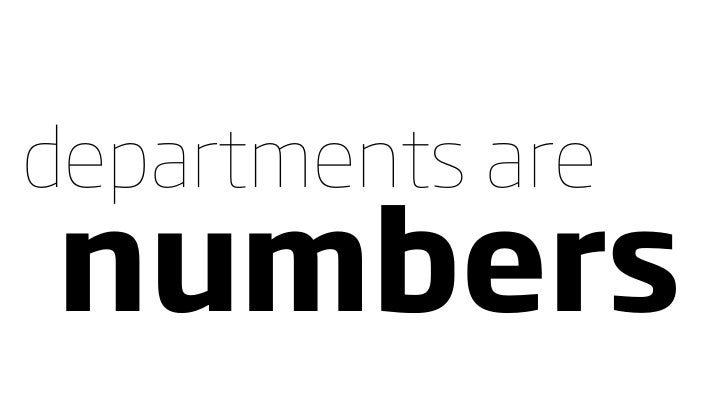 departments are numbers