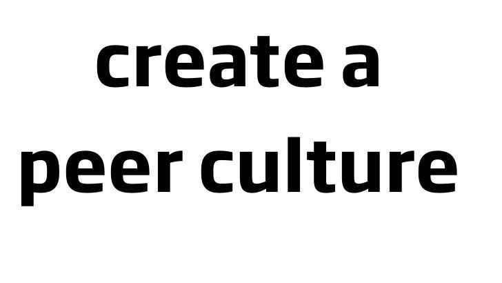 create a peer culture
