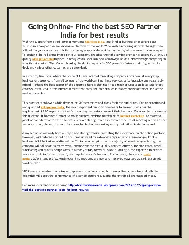 Going Online- Find the best SEO Partner India for best results