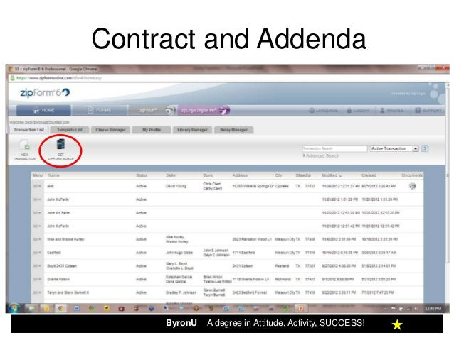 Contract and Addendav     ByronU   A degree in Attitude, Activity, SUCCESS!