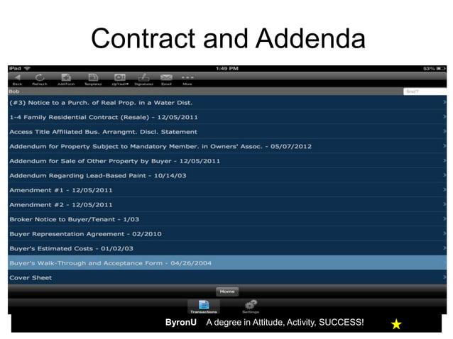 Contract and Addenda     ByronU   A degree in Attitude, Activity, SUCCESS!