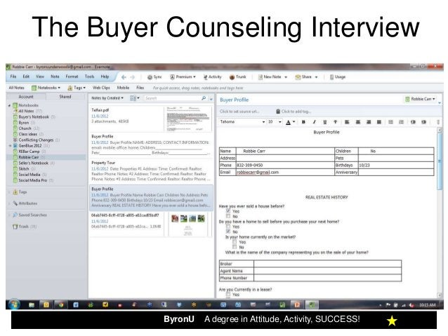 The Buyer Counseling Interview          ByronU   A degree in Attitude, Activity, SUCCESS!