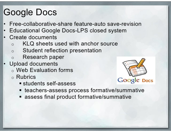 extending google docs to collaborate on research papers Google docs' collaborate tab add me as a collaborator to their documents so that they can turn in their papers and receive feedback within google docs (i will not assign grades in google docs directs the computer writing and research lab spinuzzi's interests include research methods and.