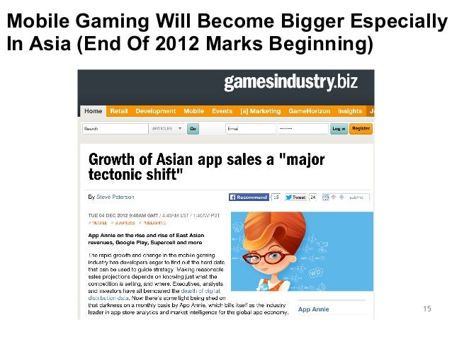 Mobile Gaming Will Become Bigger Especially  In Asia (End Of 2012 Marks Beginning)  15