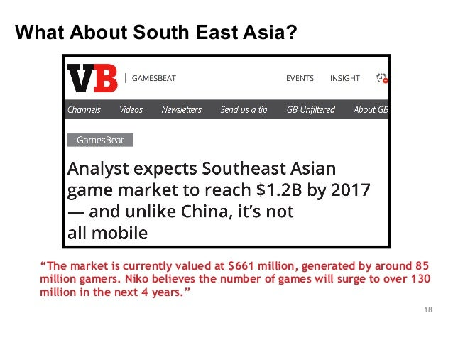 """18  What About South East Asia?  """"The market is currently valued at $661 million, generated by around 85  million gamers. ..."""