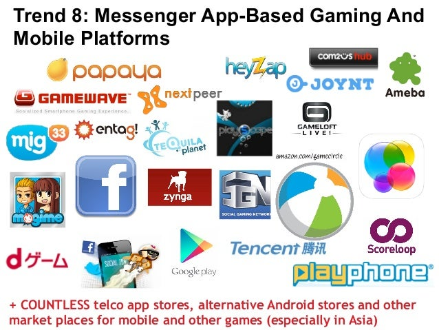 Trend 8: Messenger App-Based Gaming And  Mobile Platforms  + COUNTLESS telco app stores, alternative Android stores and ot...