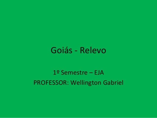 Goiás - Relevo 1º Semestre – EJA PROFESSOR: Wellington Gabriel