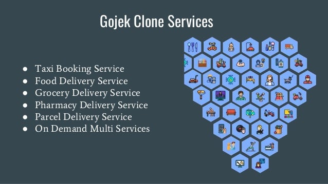 Gojek Clone Services ● Taxi Booking Service ● Food Delivery Service ● Grocery Delivery Service ● Pharmacy Delivery Service...