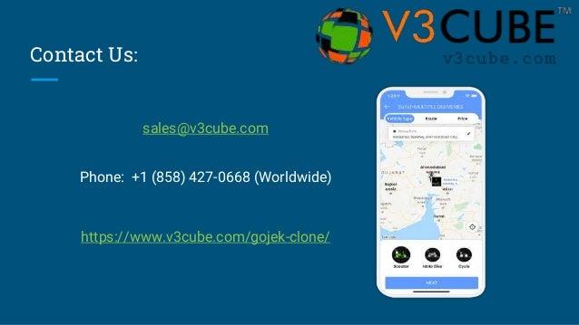 Contact Us: sales@v3cube.com Phone: +1 (858) 427-0668 (Worldwide) https://www.v3cube.com/gojek-clone/