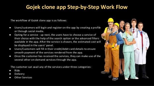 Gojek clone app Step-by-Step Work Flow The workflow of GoJek clone app is as follows: ● Users/customers will login and reg...