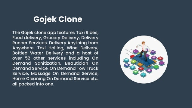 Gojek Clone The Gojek clone app features Taxi Rides, Food delivery, Grocery Delivery, Delivery Runner Services, Delivery A...