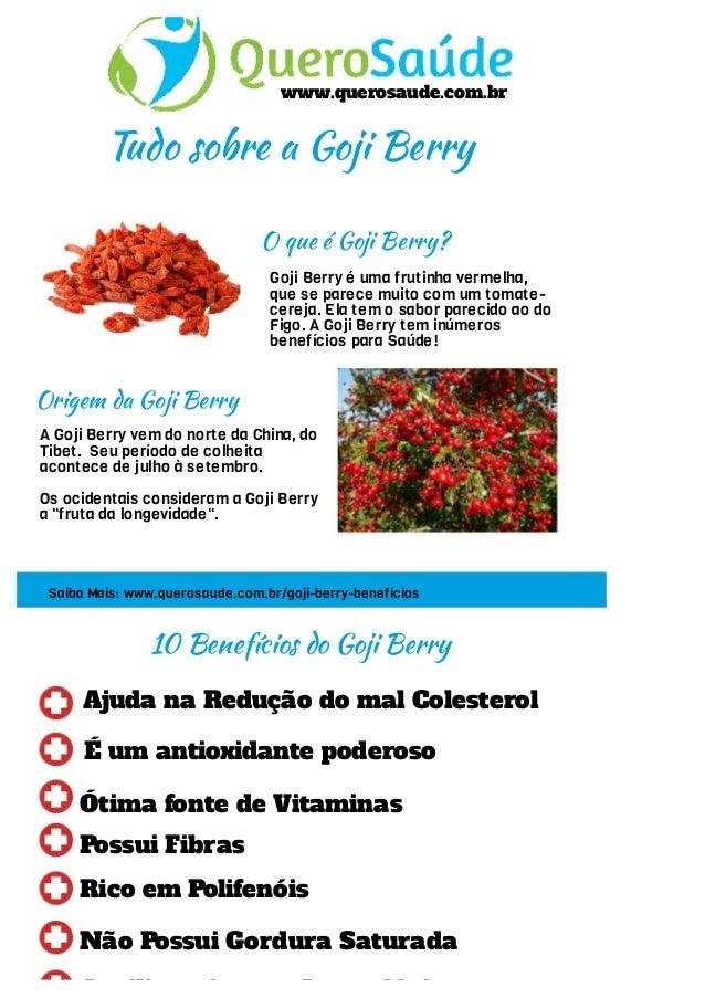 www.querosaude.com.br Tudo sobre a Goji Berry O que é Goji Berry? Goji Berry é uma frutinha vermelha, que se parece muito ...