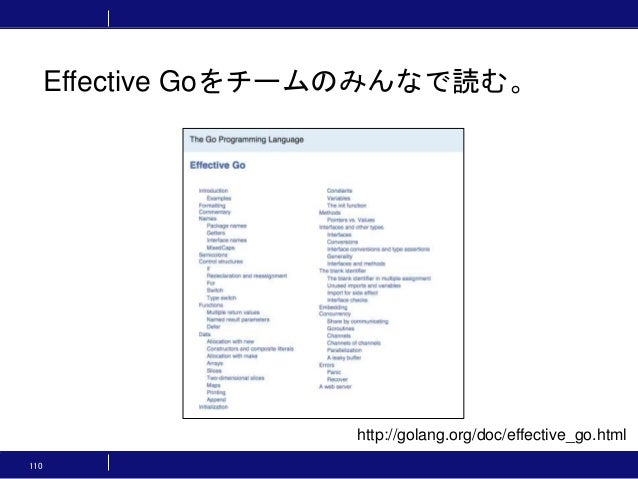 110 Effective Goをチームのみんなで読む。 http://golang.org/doc/effective_go.html