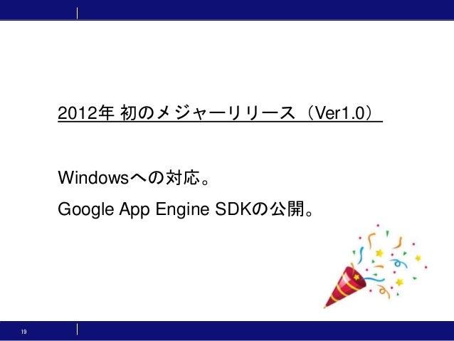 19 2012年 初のメジャーリリース(Ver1.0) Windowsへの対応。 Google App Engine SDKの公開。