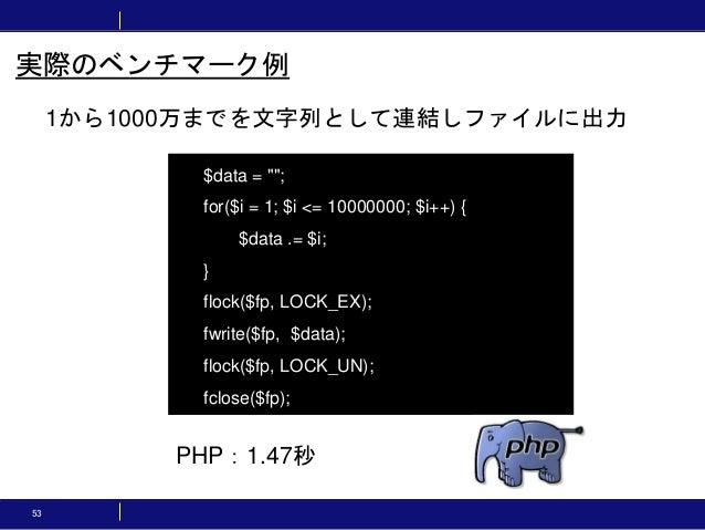 """53 1から1000万までを文字列として連結しファイルに出力 実際のベンチマーク例 $data = """"""""; for($i = 1; $i <= 10000000; $i++) { $data .= $i; } flock($fp, LOCK_E..."""