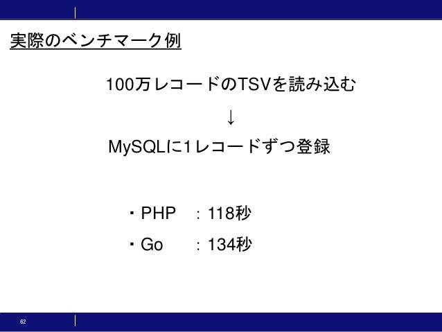 62 ・PHP :118秒 ・Go :134秒 実際のベンチマーク例 100万レコードのTSVを読み込む ↓ MySQLに1レコードずつ登録