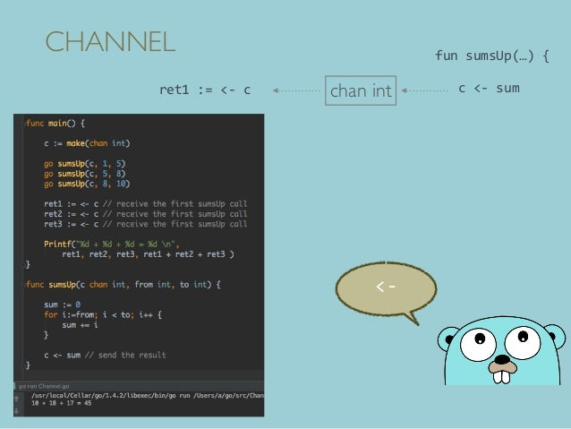CHANNEL <- chan int funsumsUp(…){ c<-sumret1:=<-c