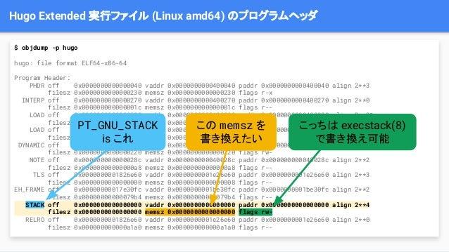 Hugo Extended 実行ファイル (Linux amd64) のプログラムヘッダ $ objdump -p hugo hugo: file format ELF64-x86-64 Program Header: PHDR off 0x0...