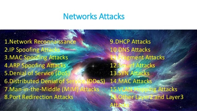 Networks Attacks 1.Network Reconnaissance 2.IP Spoofing Attacks 3.MAC Spoofing Attacks 4.ARP Spoofing Attacks 5.Denial of ...