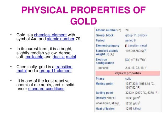 Gold Element Chemical And Physical Properties