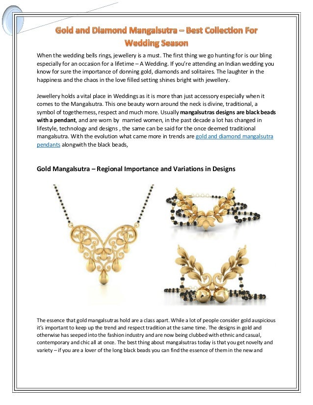 Gold and diamond mangalsutra best collection for wedding season when the wedding bells rings jewellery is a must junglespirit Choice Image