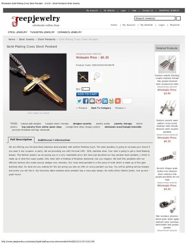 Wholesale Gold-Plating Cross Steel Pendant - $ 6.30 : Steel Pendants Steel Jewelry                                        ...