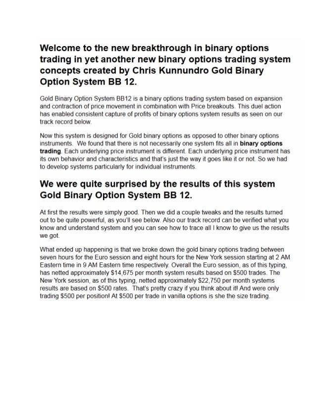 Binary options system gold burst