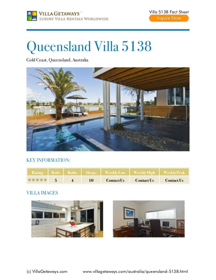 Villa 5138 Fact SheetQueensland Villa 5138Gold Coast, Queensland, AustraliaKEY INFORMATION:  Rating     Beds       Baths  ...