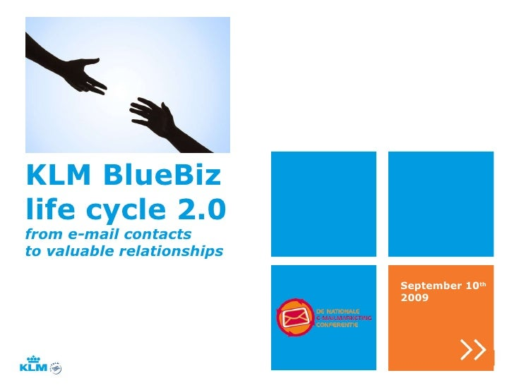 KLM BlueBiz  life cycle 2.0 September 10 th  2009 from e-mail contacts to valuable relationships