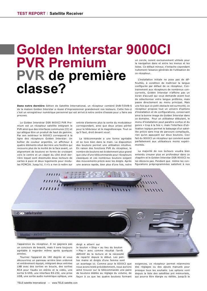 TEST REPORT                 Satellite Receiver     Golden Interstar 9000CI PVR Premium                                    ...