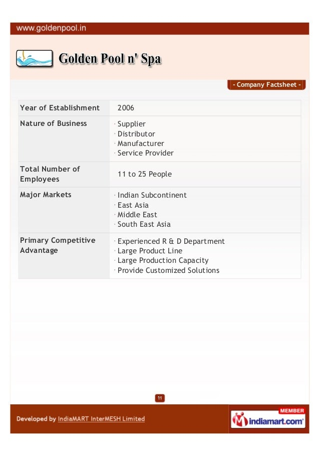 - Company Factsheet -Year of Establishment   2006Nature of Business      Supplier                        Distributor      ...