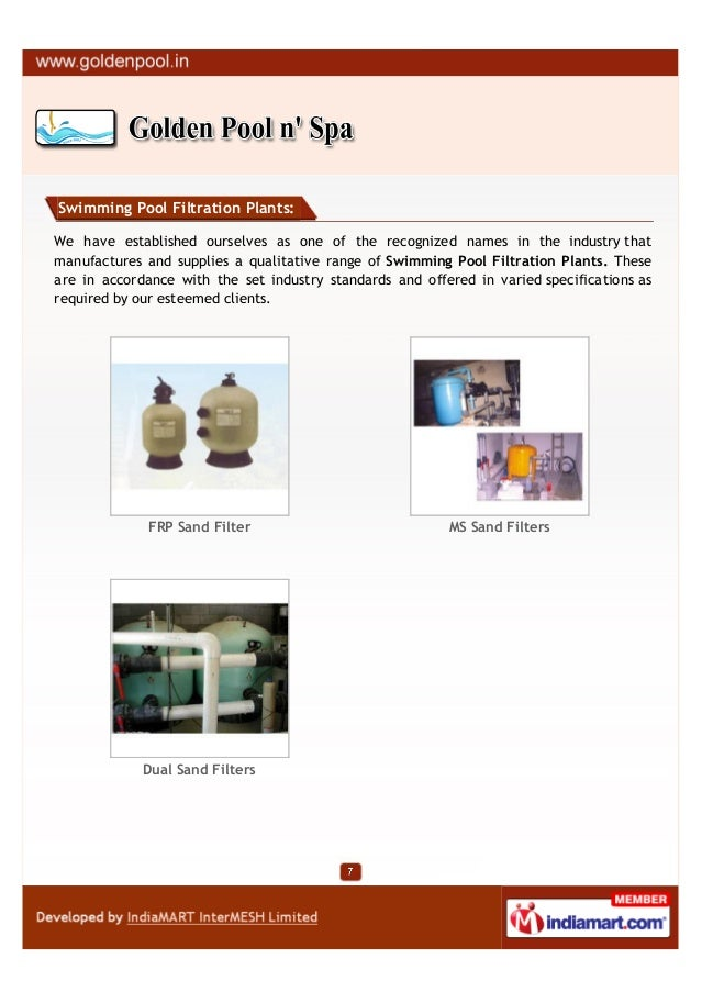Swimming Pool Filtration Plants:We have established ourselves as one of the recognized names in the industry thatmanufactu...