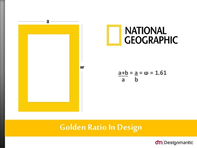 Golden Ratio In Design a b b a+b = a =  = 1.61 a ...