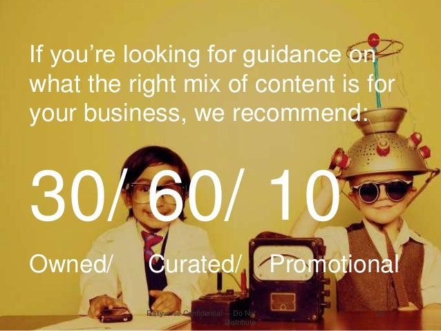 If you're looking for guidance on what the right mix of content is for your business, we recommend:  30/ 60/ 10 Owned/  Cu...