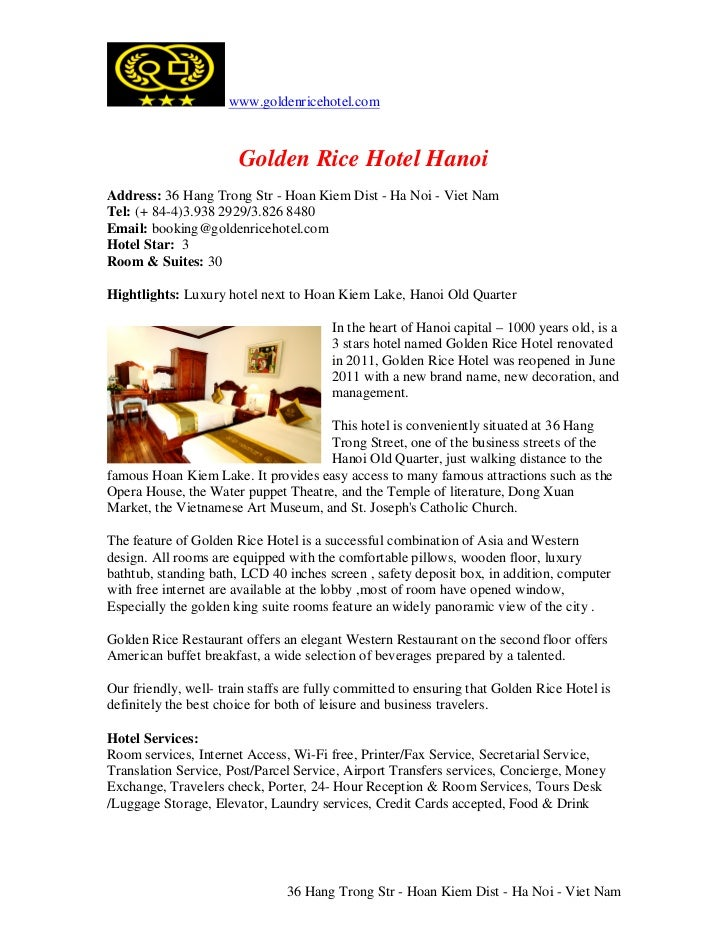 www.goldenricehotel.com                       Golden Rice Hotel HanoiAddress: 36 Hang Trong Str - Hoan Kiem Dist - Ha Noi ...