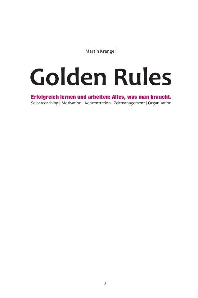 Golden Rules Martin Krengel Erfolgreich lernen und arbeiten: Alles, was man braucht. Selbstcoaching | Motivation | Konzent...