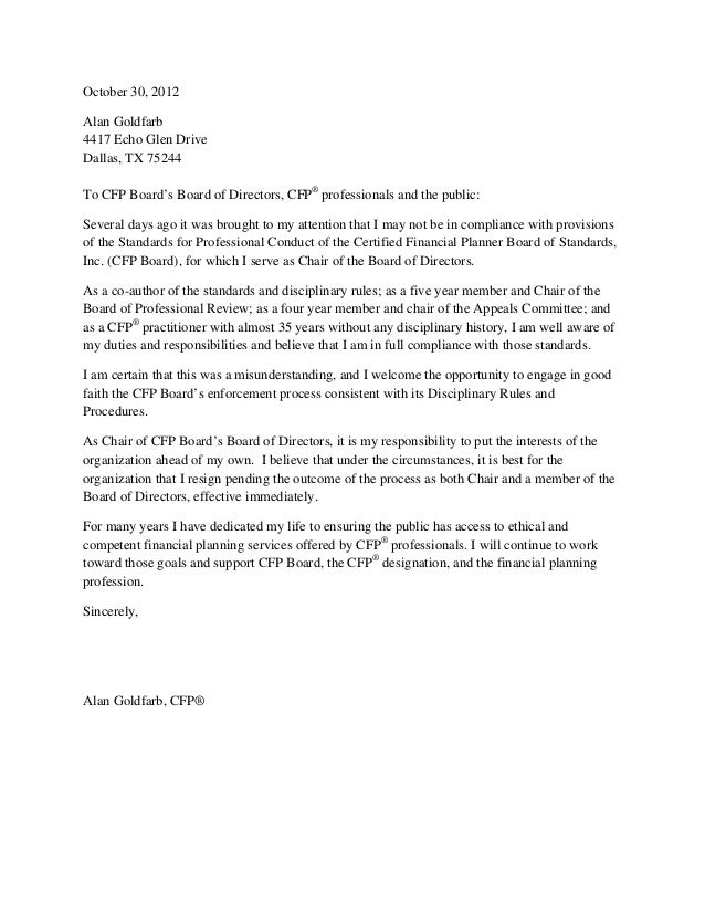 October 30, 2012Alan Goldfarb4417 Echo Glen DriveDallas, TX 75244To CFP Boardu0027s  Board Of Directors  Board Resignation Letter