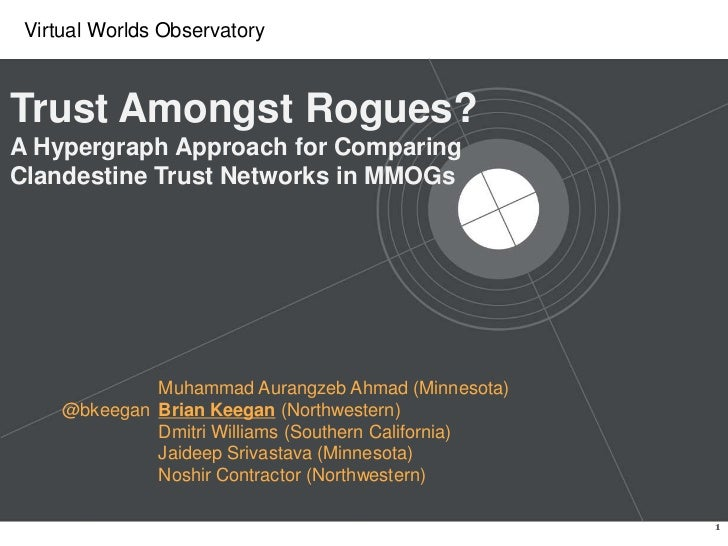 Trust Amongst Rogues? A Hypergraph Approach for Comparing Clandestine Trust Networks in MMOGs<br />Muhammad Aurangzeb Ahma...