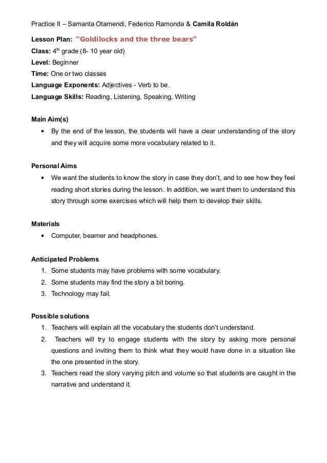 Lesson Plan Goldilocks and the three bears – Goldilocks and the Three Bears Worksheets Kindergarten